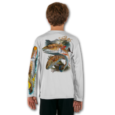 White  Stay cool with Jason Mathias's popular line of T-shirts for boys and girls! Catch your kids a Jason Mathias youth tee to match the one that you have, or help inspire their love for their favorite fish species like this awesome scene featuring a couple Redfish glistening in the underwater light. This fine art design is sublimated using superior technology that definitely makes for a top favorite among all young anglers and outdoor enthusiasts worldwide!  Say goodbye to sunburns and hello to the supreme comfort of the Jason Mathias youth Solar Performance Long Sleeve shirt! This awesome shirt offers superior sun protection and performance qualities. It is so comfortable that you will feel like you're not even wearing a shirt! Our shirts don't snag or catch, which makes it a must when doing what you do best! Featuring up to UPF +50 solar protection, the Solar Performance Long Sleeve is lightweight, comfortable, and sure to keep the sun's rays from penetrating through to your skin. This fabric is powered by PURE-tech™ moisture wicking technology which will keep you cooler in the summer and warmer in the winter.  Fabric: 4.1oz. / 100% Performance w/ UPF Protection  Made in USA