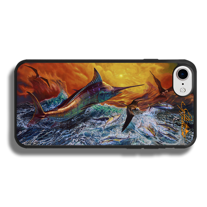 """iPhone 7 fine art phone case"" by artist Jason Mathias: Carry around this unique piece of personalized art of a massive Blue Marlin exploding over an ocean wave and scattering a school of feeding tunas as frigate birds circle overhead while protecting your phone all at the same time!  Our phone cases provide superior quality when compared with other slim silicone rubber cases. Our case provides a layer of silicone protection- and an extended lip to protect your phone screen from touching or rubbing on surfaces. Our cases also have a comfortable textured grip and easy access to all buttons and plugins. The art plate is extremely tough, a well shielded sublimated aluminum fine art plate that wont fade or scratch.  Case provides effective protection from dust, damage or any other unexpected situations.  (Made in the USA)"