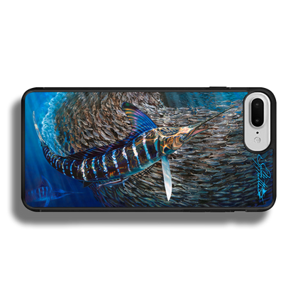 """""""iPhone 7 Plus fine art phone case"""" by artist Jason Mathias: Carry around this unique piece of personalized art of a Striped Marlin corralling a school of Tinker Mackerel while protecting your phone all at the same time!  Our phone cases provide superior quality when compared with other slim silicone rubber cases. Our case provides a layer of silicone protection- and an extended lip to protect your phone screen from touching or rubbing on surfaces. Our cases also have a comfortable textured grip and easy access to all buttons and plugins. The art plate is extremely tough, a well shielded sublimated aluminum fine art plate that wont fade or scratch.  Case provides effective protection from dust, damage or any other unexpected situations.  (Made in the USA)"""