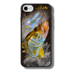 """iPhone 7 fine art phone case"" by artist Jason Mathias: Carry around this unique piece of personalized art of a brilliant Snook ambushing finger Mullet and Greenies with a Speckled Sea Trout and Redfish in the background while protecting your phone all at the same time!  Our phone cases provide superior quality when compared with other slim silicone rubber cases. Our case provides a layer of silicone protection- and an extended lip to protect your phone screen from touching or rubbing on surfaces. Our cases also have a comfortable textured grip and easy access to all buttons and plugins. The art plate is extremely tough, a well shielded sublimated aluminum fine art plate that wont fade or scratch.  Case provides effective protection from dust, damage or any other unexpected situations.  (Made in the USA)  iphone-7-cases-cover-slim-fit-snook-redfish-trout-fishing-gamefish-sportfishing-outdoor-rugged-jason-mathias-art.png"
