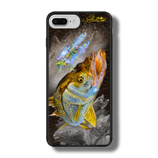 """iPhone 7 Plus fine art phone case"" by artist Jason Mathias: Carry around this unique piece of personalized art of a brilliant Snook ambushing finger Mullet and Greenies with a Speckled Sea Trout and Redfish in the background while protecting your phone all at the same time!  Our phone cases provide superior quality when compared with other slim silicone rubber cases. Our case provides a layer of silicone protection- and an extended lip to protect your phone screen from touching or rubbing on surfaces. Our cases also have a comfortable textured grip and easy access to all buttons and plugins. The art plate is extremely tough, a well shielded sublimated aluminum fine art plate that wont fade or scratch.  Case provides effective protection from dust, damage or any other unexpected situations.  (Made in the USA)"