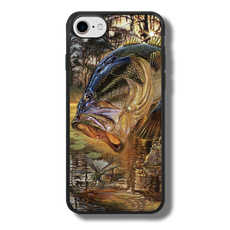 "iPhone 7 fine art phone case"" by artist Jason Mathias: Carry around this unique piece of personalized art of a trophy size Largemouth Bass jumping out of the sun set swamps after a dragonfly while protecting your phone all at the same time!  Our phone cases provide superior quality when compared with other slim silicone rubber cases. Our case provides a layer of silicone protection- and an extended lip to protect your phone screen from touching or rubbing on surfaces. Our cases also have a comfortable textured grip and easy access to all buttons and plugins. The art plate is extremely tough, a well shielded sublimated aluminum fine art plate that wont fade or scratch.  Case provides effective protection from dust, damage or any other unexpected situations.  (Made in the USA)"
