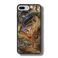 "iPhone 7 Plus fine art phone case"" by artist Jason Mathias: Carry around this unique piece of personalized art of a trophy size Largemouth Bass jumping out of the sun set swamps after a dragonfly while protecting your phone all at the same time!  Our phone cases provide superior quality when compared with other slim silicone rubber cases. Our case provides a layer of silicone protection- and an extended lip to protect your phone screen from touching or rubbing on surfaces. Our cases also have a comfortable textured grip and easy access to all buttons and plugins. The art plate is extremely tough, a well shielded sublimated aluminum fine art plate that wont fade or scratch.  Case provides effective protection from dust, damage or any other unexpected situations.  (Made in the USA)"