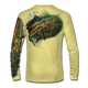 "Back view on pale yellow.  This shirt is truly awesome, featuring Jason Mathias's ""Majesty"" which portrays a lit up Sailfish corralling a giant baitball! This fine art design is sublimated onto our superior technology that definitely makes for a top favorite among all anglers and outdoor enthusiast world wide!   Say goodbye to sunburns and say hello to the supreme comfort of the Jason Mathias Solar Performance Long Sleeve shirt! This awesome shirt offers superior sun protection and performance qualities. So comfortable that you feel like you're not even wearing a shirt! Shirt doesn't snag or catch which makes it a must when doing what you do best! Featuring up to UPF +50 solar protection, the Solar Performance Long Sleeve is lightweight, comfortable, and sure to keep the sun's rays from penetrating through to your skin. This fabric is powered by PURE-tech™ moisture wicking technology which will keep you cooler in the summer and warmer in the winter."