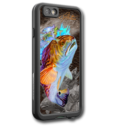 """iPhone 7 fine art LifeProof Skin"" by artist Jason Mathias: Carry around this unique piece of personalized art of a beautiful Redfish while protecting your phone all at the same time!  Our LifeProof Skins provide superior quality with a well shielded waterproof aluminum fine art plate, a special waterproof adhesive that custom fits your Lifeproof case that wont fade.  :LifeProof Cases is not included. The skin isn't a sticker, its a sublimated aluminum plate.  (Made in the USA)  Instructions -   1. Use supplied alcohol pad to fully clean the back of the LifeProof case.  2. Make sure the back of the LifeProof case is completely dry and free of dirt or grease.  3. Take the supplied Jason Mathias LP skin and make sure it lines up with the camera on the back of the LifeProof case.  4. Remove the wax paper from the back of the Jason Mathias skin.  5. Align the notch in the JM skin with the LP camera, while keeping the plate tilted in an upwards position until the corners meet.  6. Once aligned slowly start lowering the skin onto the back of the case. Once the skin is rested on the case and aligned start pressing the skin firmly onto the case back.  7. The skin needs 24-48 hours to cure, you can use the case but don't flex or use underwater until the curing period is over."