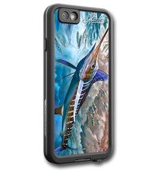 """iPhone 7 fine art LifeProof Skin"" by artist Jason Mathias: Carry around this unique piece of personalized art of an agile White Marlin and Spearfish while protecting your phone all at the same time!  Our LifeProof Skins provide superior quality with a well shielded waterproof aluminum fine art plate, a special waterproof adhesive that custom fits your Lifeproof case that wont fade.  :LifeProof Cases is not included. The skin isn't a sticker, its a sublimated aluminum plate.  (Made in the USA)  Instructions -   1. Use supplied alcohol pad to fully clean the back of the LifeProof case.  2. Make sure the back of the LifeProof case is completely dry and free of dirt or grease.  3. Take the supplied Jason Mathias LP skin and make sure it lines up with the camera on the back of the LifeProof case.  4. Remove the wax paper from the back of the Jason Mathias skin.  5. Align the notch in the JM skin with the LP camera, while keeping the plate tilted in an upwards position until the corners meet.  6. Once aligned slowly start lowering the skin onto the back of the case. Once the skin is rested on the case and aligned start pressing the skin firmly onto the case back.  7. The skin needs 24-48 hours to cure, you can use the case but don't flex or use underwater until the curing period is over."