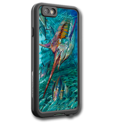 """iPhone 7 fine art LifeProof Skin"" by artist Jason Mathias: Carry around this unique piece of personalized art of a mighty Blue Marlin and a massive school of Yellowfin Tuna while protecting your phone all at the same time!  Our LifeProof Skins provide superior quality with a well shielded waterproof aluminum fine art plate, a special waterproof adhesive that custom fits your Lifeproof case that wont fade.  :LifeProof Cases is not included. The skin isn't a sticker, its a sublimated aluminum plate.  (Made in the USA)  Instructions -   1. Use supplied alcohol pad to fully clean the back of the LifeProof case.  2. Make sure the back of the LifeProof case is completely dry and free of dirt or grease.  3. Take the supplied Jason Mathias LP skin and make sure it lines up with the camera on the back of the LifeProof case.  4. Remove the wax paper from the back of the Jason Mathias skin.  5. Align the notch in the JM skin with the LP camera, while keeping the plate tilted in an upwards position until the corners meet.  6. Once aligned slowly start lowering the skin onto the back of the case. Once the skin is rested on the case and aligned start pressing the skin firmly onto the case back.  7. The skin needs 24-48 hours to cure, you can use the case but don't flex or use underwater until the curing period is over."