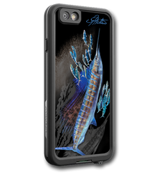 """iPhone 7 fine art LifeProof Skin"" by artist Jason Mathias: Carry around this unique piece of personalized art of a lit up Sailfish schooling up a ball of bait while protecting your phone all at the same time!  Our LifeProof Skins provide superior quality with a well shielded waterproof aluminum fine art plate, a special waterproof adhesive that custom fits your Lifeproof case that wont fade.  :LifeProof Cases is not included. The skin isn't a sticker, its a sublimated aluminum plate.  (Made in the USA)  Instructions -   1. Use supplied alcohol pad to fully clean the back of the LifeProof case.  2. Make sure the back of the LifeProof case is completely dry and free of dirt or grease.  3. Take the supplied Jason Mathias LP skin and make sure it lines up with the camera on the back of the LifeProof case.  4. Remove the wax paper from the back of the Jason Mathias skin.  5. Align the notch in the JM skin with the LP camera, while keeping the plate tilted in an upwards position until the corners meet.  6. Once aligned slowly start lowering the skin onto the back of the case. Once the skin is rested on the case and aligned start pressing the skin firmly onto the case back.  7. The skin needs 24-48 hours to cure, you can use the case but don't flex or use underwater until the curing period is over."