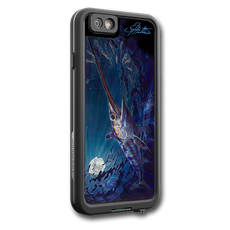 """iPhone 7 fine art LifeProof Skin"" by artist Jason Mathias: Carry around this unique piece of personalized art of a Swordfish under the moon lit surface while protecting your phone all at the same time!  Our LifeProof Skins provide superior quality with a well shielded waterproof aluminum fine art plate, a special waterproof adhesive that custom fits your Lifeproof case that wont fade.  :LifeProof Cases is not included. The skin isn't a sticker, its a sublimated aluminum plate.  (Made in the USA)  Instructions -   1. Use supplied alcohol pad to fully clean the back of the LifeProof case.  2. Make sure the back of the LifeProof case is completely dry and free of dirt or grease.  3. Take the supplied Jason Mathias LP skin and make sure it lines up with the camera on the back of the LifeProof case.  4. Remove the wax paper from the back of the Jason Mathias skin.  5. Align the notch in the JM skin with the LP camera, while keeping the plate tilted in an upwards position until the corners meet.  6. Once aligned slowly start lowering the skin onto the back of the case. Once the skin is rested on the case and aligned start pressing the skin firmly onto the case back.  7. The skin needs 24-48 hours to cure, you can use the case but don't flex or use underwater until the curing period is over."