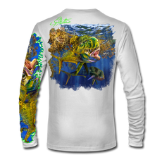 "Back view on white.   This shirt is truly awesome, featuring Jason Mathias's ""Seaweed Salad"" A Mahi, Dorado or Dolphin busting through the weedline after flyingfish. You will also notice other various creatures found in the weedline hiding from pelagic predators. fine art design sublimated onto our superior technology that definitely makes for a top favorite among all anglers and outdoor enthusiast world wide!  Say goodbye to sunburns and say hello to the supreme comfort of the Jason Mathias Solar Performance Long Sleeve shirt! This awesome shirt offers superior sun protection and performance qualities. So comfortable that you feel like you're not even wearing a shirt! Shirt doesn't snag or catch which makes it a must when doing what you do best! Featuring up to UPF +50 solar protection, the Solar Performance Long Sleeve is lightweight, comfortable, and sure to keep the sun's rays from penetrating through to your skin. This fabric is powered by PURE-tech™ moisture wicking technology which will keep you cooler in the summer and warmer in the winter.  Fabric: 4.1oz. 
