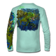 "Back view on seagrass green.  This shirt is truly awesome, featuring Jason Mathias's ""Seaweed Salad"" A Mahi, Dorado or Dolphin busting through the weedline after flyingfish. You will also notice other various creatures found in the weedline hiding from pelagic predators. fine art design sublimated onto our superior technology that definitely makes for a top favorite among all anglers and outdoor enthusiast world wide!  Say goodbye to sunburns and say hello to the supreme comfort of the Jason Mathias Solar Performance Long Sleeve shirt! This awesome shirt offers superior sun protection and performance qualities. So comfortable that you feel like you're not even wearing a shirt! Shirt doesn't snag or catch which makes it a must when doing what you do best! Featuring up to UPF +50 solar protection, the Solar Performance Long Sleeve is lightweight, comfortable, and sure to keep the sun's rays from penetrating through to your skin. This fabric is powered by PURE-tech™ moisture wicking technology which will keep you cooler in the summer and warmer in the winter.  Fabric: 4.1oz. 