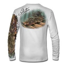 "Back view on white.   This shirt is truly awesome, featuring Jason Mathias's ""Ambush"" A Flounder or Fluke ambushing an artificial bait. Fine art design is sublimated onto our superior technology that definitely makes for a top favorite among all anglers and outdoor enthusiast world wide!  Say goodbye to sunburns and say hello to the supreme comfort of the Jason Mathias Solar Performance Long Sleeve shirt! This awesome shirt offers superior sun protection and performance qualities. So comfortable that you feel like you're not even wearing a shirt! Shirt doesn't snag or catch which makes it a must when doing what you do best! Featuring up to UPF +50 solar protection, the Solar Performance Long Sleeve is lightweight, comfortable, and sure to keep the sun's rays from penetrating through to your skin. This fabric is powered by PURE-tech™ moisture wicking technology which will keep you cooler in the summer and warmer in the winter.  Fabric: 4.1oz. 