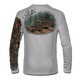 "Back view on pearl grey.  This shirt is truly awesome, featuring Jason Mathias's ""Ambush"" A Flounder or Fluke ambushing an artificial bait. Fine art design is sublimated onto our superior technology that definitely makes for a top favorite among all anglers and outdoor enthusiast world wide!  Say goodbye to sunburns and say hello to the supreme comfort of the Jason Mathias Solar Performance Long Sleeve shirt! This awesome shirt offers superior sun protection and performance qualities. So comfortable that you feel like you're not even wearing a shirt! Shirt doesn't snag or catch which makes it a must when doing what you do best! Featuring up to UPF +50 solar protection, the Solar Performance Long Sleeve is lightweight, comfortable, and sure to keep the sun's rays from penetrating through to your skin. This fabric is powered by PURE-tech™ moisture wicking technology which will keep you cooler in the summer and warmer in the winter.  Fabric: 4.1oz. 
