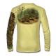 "Back view on pale yellow.  This shirt is truly awesome, featuring Jason Mathias's ""Ambush"" A Flounder or Fluke ambushing an artificial bait. Fine art design is sublimated onto our superior technology that definitely makes for a top favorite among all anglers and outdoor enthusiast world wide!  Say goodbye to sunburns and say hello to the supreme comfort of the Jason Mathias Solar Performance Long Sleeve shirt! This awesome shirt offers superior sun protection and performance qualities. So comfortable that you feel like you're not even wearing a shirt! Shirt doesn't snag or catch which makes it a must when doing what you do best! Featuring up to UPF +50 solar protection, the Solar Performance Long Sleeve is lightweight, comfortable, and sure to keep the sun's rays from penetrating through to your skin. This fabric is powered by PURE-tech™ moisture wicking technology which will keep you cooler in the summer and warmer in the winter.  Fabric: 4.1oz. 