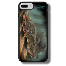 "iPhone 7 Plus fine art phone case"" by artist Jason Mathias: Carry around this unique piece of personalized art of a Flounder or Fluke ambushing an artificial bait while protecting your phone all at the same time!  Our phone cases provide superior quality when compared with other slim silicone rubber cases. Our case provides a layer of silicone protection- and an extended lip to protect your phone screen from touching or rubbing on surfaces. Our cases also have a comfortable textured grip and easy access to all buttons and plugins. The art plate is extremely tough, a well shielded sublimated aluminum fine art plate that wont fade or scratch.  Case provides effective protection from dust, damage or any other unexpected situations.  (Made in the USA)"