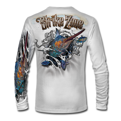"This shirt is truly awesome, featuring Jason Mathias's fine art rendition of a massive Blue Marlin, busting and ripping right out of the shirt after a school of Tuna is sure to catch the eye and the fish. fine art design is sublimated onto our superior technology that definitely makes for a top favorite among all anglers and outdoor enthusiast world wide!   Super jumbo back art print: 22"" to 22""  Sizing: Small through 4XL!  Fabric: 3.8oz. 