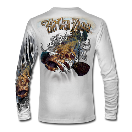"This shirt is truly awesome, featuring Jason Mathias's fine art rendition of a hulking Goliath Grouper, busting and ripping right out of the shirt is sure to catch the eye and the fish. fine art design is sublimated onto our superior technology that definitely makes for a top favorite among all anglers and outdoor enthusiast world wide!   Say hello to the supreme comfort of the light weight, roomy and highly breathable Jason Mathias Strike Zone Performance Long Sleeve shirt! This awesome shirt offers many great performance qualities. So comfortable that you feel like you're not even wearing a shirt! Shirt keeps you cooler and drier which makes it a must when doing what you do best! Featuring up to UPF +30 solar protection, the Strike Zone Performance Long Sleeve is lightweight, comfortable, and sure to keep the sun's rays from penetrating through to your skin. This fabric is powered by moisture wicking technology which will keep you cooler in the summer and warmer in the winter. Super jumbo back art print: 22"" to 22"" Sizing: Small through 4XL! Fabric: 3.8oz. 