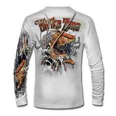 "This shirt is truly awesome, featuring Jason Mathias's fine art rendition of a Hogfish and Spiny Caribbean Lobster, busting and ripping right out of the shirt is sure to catch the eye and the fish. fine art design is sublimated onto our superior technology that definitely makes for a top favorite among all anglers and outdoor enthusiast world wide! Super jumbo back art print: 22"" to 22""Sizing: Small through 4XL! Fabric: 3.8oz. 