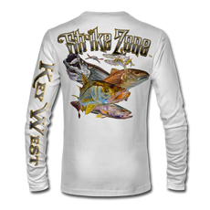 "This shirt is truly awesome, featuring Jason Mathias's fine art rendition of an Inshore Slam (Snook, Trout, Redfish and Tarpon) busting and ripping right out of the shirt after a school of mullet, greenies and a pass crab is sure to catch the eye and the fish. fine art design is sublimated onto our superior technology that definitely makes for a top favorite among all anglers and outdoor enthusiast world wide!  Super jumbo back art print: 22"" to 22"" Sizing: Small through 4XL! Fabric: 3.8oz. 