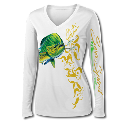 This shirt is truly awesome, featuring Jason Mathias's fine art rendition of a lit up Mahi Mahi, Dorado or Dolphin, elegantly designed to enhance the figure is sure to catch the eye and the fish. fine art design is sublimated onto our superior technology that definitely makes for a top favorite among woman anglers world wide!