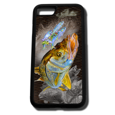 iPhone 8 fine art phone case by artist Jason Mathias: Carry around this unique piece of personalized art of a brilliant Snook ambushing finger Mullet and Greenies with a Speckled Sea Trout and Redfish in the background while protecting your phone all at the same time!