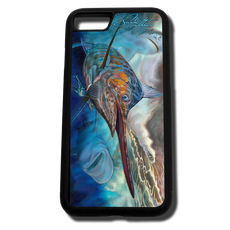 iPhone 8 fine art phone case by artist Jason Mathias: Carry around this unique piece of personalized art of a brilliantly lit up Marlin ambushing a lure and being stalked by a Bull and Tiger Shark while protecting your phone all at the same time!