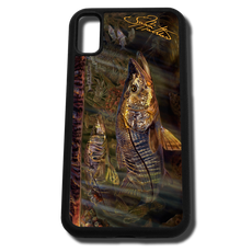 iPhone X fine art phone case by artist Jason Mathias: Carry around this unique piece of personalized art of a brilliant Snook ambushing finger Mullet in the mangroves while protecting your phone all at the same time!
