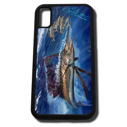 iPhone X fine art phone case by artist Jason Mathias: Carry around this unique piece of personalized art of a brilliantly lit up Sailfish ambushing a bait ball in the open ocean while protecting your phone all at the same time!