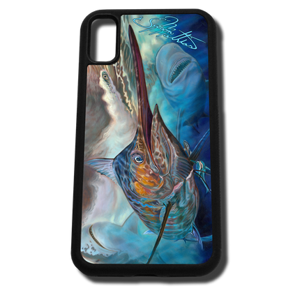 iPhone X fine art phone case by artist Jason Mathias: Carry around this unique piece of personalized art of a brilliantly lit up Marlin ambushing a lure and being stalked by a Bull and Tiger Shark while protecting your phone all at the same time!