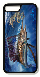 Phone 8 plus fine art phone case by artist Jason Mathias: Carry around this unique piece of personalized art of a brilliantly lit up Sailfish ambushing a bait ball in the open ocean while protecting your phone all at the same time!