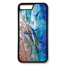 iPhone 8 plus fine art phone case by artist Jason Mathias: Carry around this unique piece of personalized art of a brilliantly lit up White Marlin and Spearfish stalking a school of sardines while protecting your phone all at the same time!
