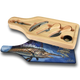 """Jason Mathias handmade Wine and Cheese 6-Piece Set Cutting Boards are absolutely stunning. Featuring a beautifully lit up Sailfish working a school of sardines will add the perfect accent to your home or yacht. Artwork is sublimated and makes for the perfect conversation piece.   - Includes: glass cutting board top, corkscrew, stopper, drip collar, cheese knife and fork.  - The case has a recessed area for the cutting board to fit. It will lay  flush with the wood edge. Cutting board: 12 1/2"""" x 4 1/2"""", Overall size 13 1/2"""" x 5 1/2"""""""