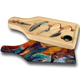 """Jason Mathias handmade Wine and Cheese 6-Piece Set Cutting Boards are absolutely stunning. Featuring a massive jumping Blue Marlin and Tunas against a delicious sunset will add the perfect accent to your home or yacht. Artwork is sublimated and makes for the perfect conversation piece.   - Includes: glass cutting board top, corkscrew, stopper, drip collar, cheese knife and fork.  - The case has a recessed area for the cutting board to fit. It will lay  flush with the wood edge. Cutting board: 12 1/2"""" x 4 1/2"""", Overall size 13 1/2"""" x 5 1/2"""""""