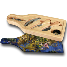 "Jason Mathias handmade Wine and Cheese 6-Piece Set Cutting Boards are absolutely stunning. Featuring a lit up bull Dolphin (Mahi Mahi) working the weed lines will add the perfect accent to your home or yacht. Artwork is sublimated and makes for the perfect conversation piece.   - Includes: glass cutting board top, corkscrew, stopper, drip collar, cheese knife and fork.  - The case has a recessed area for the cutting board to fit. It will lay  flush with the wood edge. Cutting board: 12 1/2"" x 4 1/2"", Overall size 13 1/2"" x 5 1/2"""