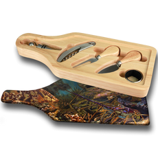 "Jason Mathias handmade Wine and Cheese 6-Piece Set Cutting Boards are absolutely stunning. Featuring the tasty Lobster and Hogfish amongst a thriving reef will add the perfect accent to your home or yacht. Artwork is sublimated and makes for the perfect conversation piece.   - Includes: glass cutting board top, corkscrew, stopper, drip collar, cheese knife and fork.  - The case has a recessed area for the cutting board to fit. It will lay  flush with the wood edge. Cutting board: 12 1/2"" x 4 1/2"", Overall size 13 1/2"" x 5 1/2"""