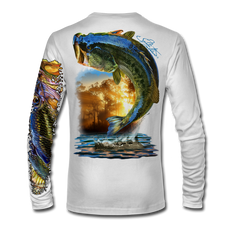 "(White) This shirt is truly awesome, featuring Jason Mathias's ""Large Mouth Bass"" fine art design sublimated onto our superior technology that definitely makes for a top favorite among all anglers and outdoor enthusiast world wide! This shirt portrays a huge Largemouth Bass leaping out of the water, framed by a golden sunset that just makes the colors on the fish POP!"