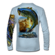 "(Arctic Blue) This shirt is truly awesome, featuring Jason Mathias's ""Large Mouth Bass"" fine art design sublimated onto our superior technology that definitely makes for a top favorite among all anglers and outdoor enthusiast world wide! This shirt portrays a huge Largemouth Bass leaping out of the water, framed by a golden sunset that just makes the colors on the fish POP!"