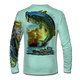 "(Seagrass Green) This shirt is truly awesome, featuring Jason Mathias's ""Large Mouth Bass"" fine art design sublimated onto our superior technology that definitely makes for a top favorite among all anglers and outdoor enthusiast world wide! This shirt portrays a huge Largemouth Bass leaping out of the water, framed by a golden sunset that just makes the colors on the fish POP!"