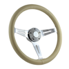 """15"""" CLASSIC FULL LEATHER WRAP STEERING WHEEL - IVORY"""