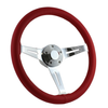 "15"" CLASSIC FULL LEATHER WRAP STEERING WHEEL - RED"