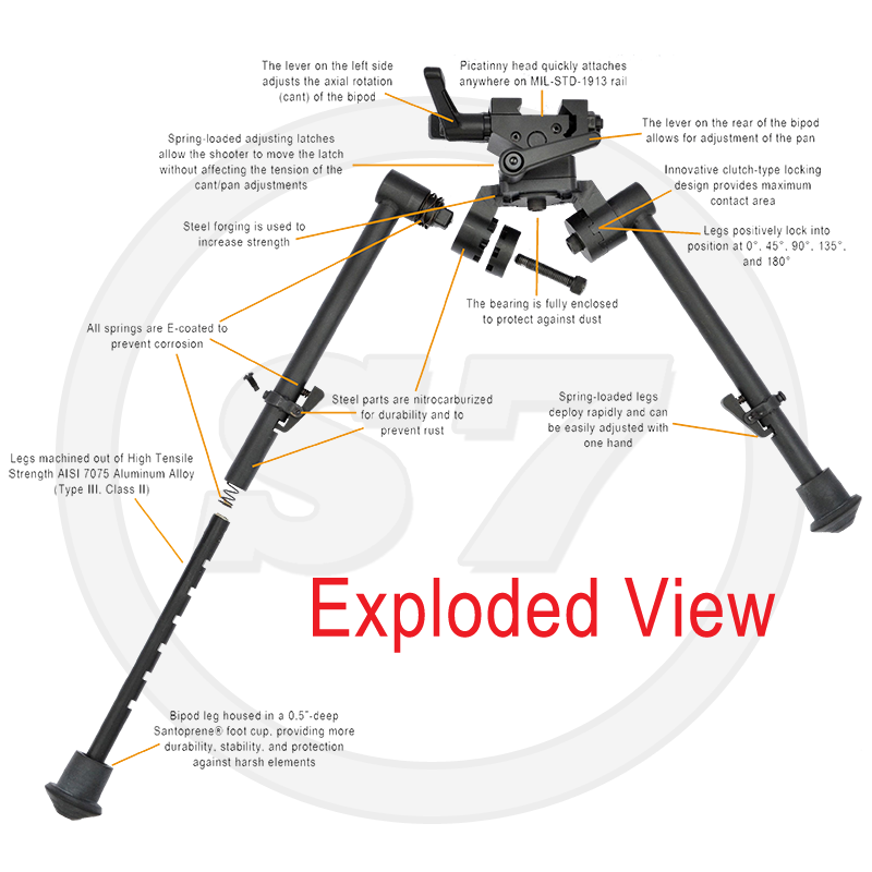 "Steel forging is used on the bipod body to increase strength. All springs throughout the S7 bipod are E-coated to prevent corrosion. The innovative clutch-type locking leg design provides maximum contact, while maintaining tight tolerances for ease of use. The inner S7 bipod legs machined out of High- Tensile Strength AISI 7075 Aluminum Alloy (Type III, Class II). The inner bipod leg is also housed in a .500"" deep Santoprene® foot cup. This provides more durability, stability, and protection against harsh elements."