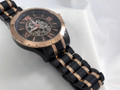 """9"""" Long Bracelet is Black and Rose Gold Ionic Plated Stainless Steel.  Real Wood Face makes this watch as unique as it is beautiful.  Named after the year Banneker completed construction of first clock in America."""