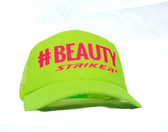 #BEAUTY   Neon Yellow  Trapper Trucker Hat (UNISEX )