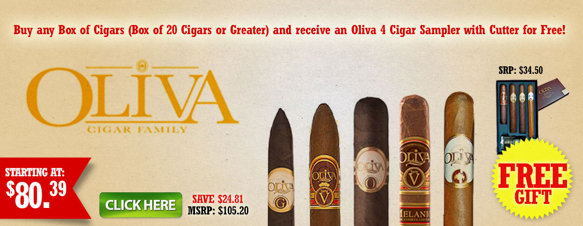 Buy any Box of Cigars and receive an Oliva 4 Sampler for Free!
