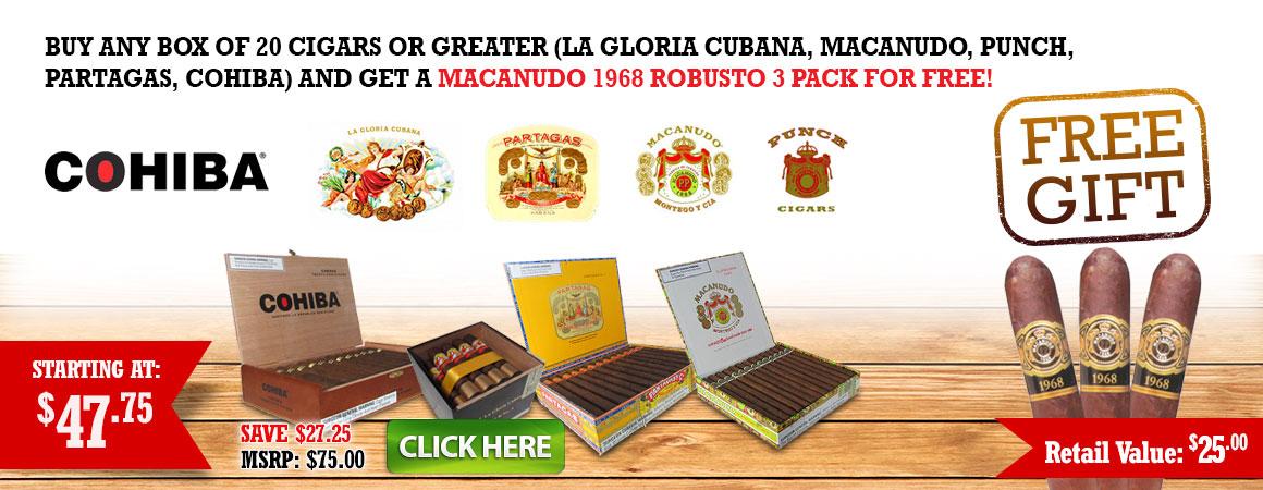 Free Macanudo 1968 Robusto 3 Pack!