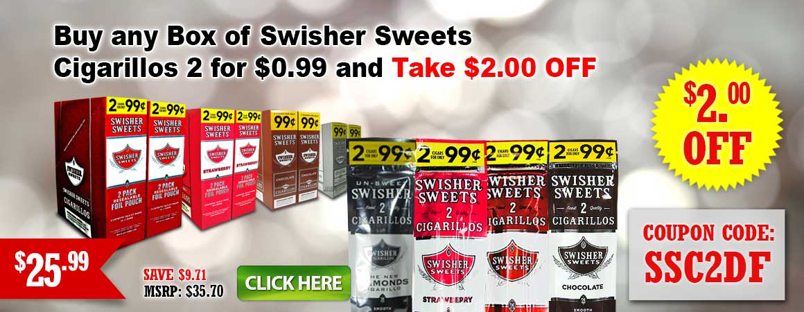 Swisher Sweets Cigarillos 2 for $0.99 and take $2.00 OFF