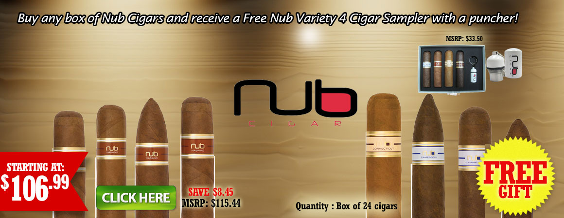 Buy any box of Nub Cigars and receive a Free Nub Variety 4 Cigar Sampler with a puncher!