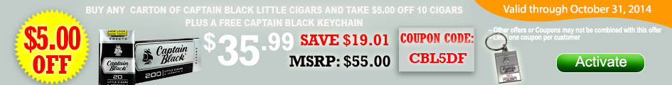 Buy any carton of Captain Black Little Cigars and get $5.00 OFF plus FREE key chain!