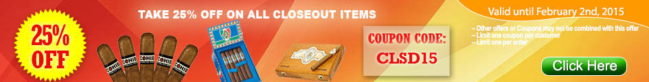 Take 25% OFF on all closeout items at GothamCigars.com!