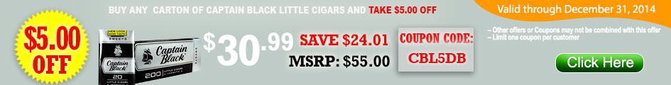 BUY CAPTAIN BLACK LITTLE CIGARS GET $5.00 OFF!
